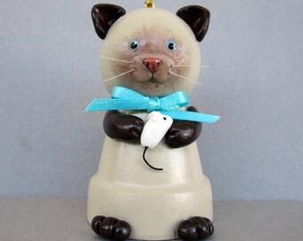 Siamese Kitty Flowerpot Bell Ornament