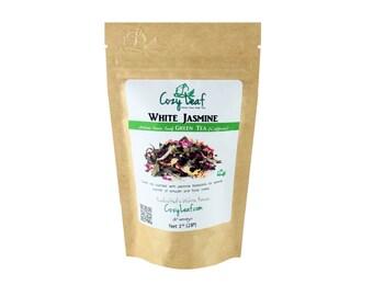 White Jasmine Organic Artisan Loose Leaf Tea by Cozy Leaf