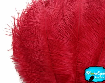 "Ostrich Feathers, 1/2 lb - 9-13"" RED Ostrich Drabs Wholesale Feathers (Bulk) : 2040-D"