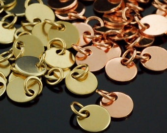 20 Stamping Blanks, Discs - Filed and Polished with Jump Rings - 9mm Jewelry Grade Copper or Brass - 100% Guarantee