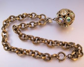 1960s SARAH COVENTRY Iridescent Rhinestone Ball Pendant Necklace Vintage Jewelry FREE Shipping