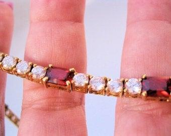 Garnet Tennis Bracelet UNCAS 14ct Garnet CZ Sterling Vermeil Vintage Jewelry