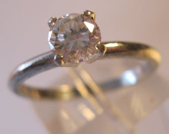 Vintage 1/2ct CZ Solitaire Engagement Ring Sterling Silver Size 7 Jewelry Jewellery FREE SHIPPING