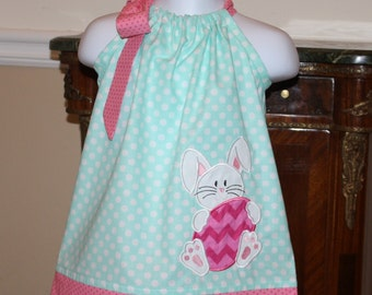 little baby girls Easter dress with bunny rabbit with Easter egg applique size 12, 18, 24, month, 2t, 3t, 4t, 5t, 6, 7,toddler