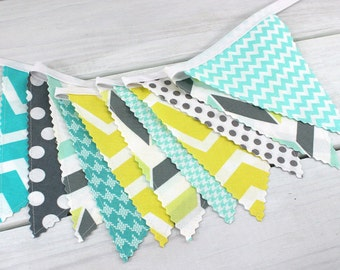 Nursery Decor Bunting Banner Photo Prop Party Decor Nursery Decor Banner Nursery Flags Gray Mint Green Grey Seafoam Green Yellow Chevron