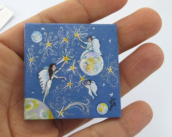 Miniature Painting/ Collectible Tiny Unframed Miniature, Acrylic Original Painting on Small Cartoon,Angels Family SALE