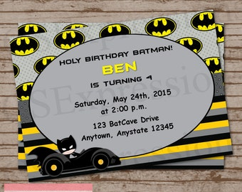 Bat Boy Birthday Party Invitation