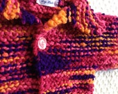 Baby Sweater and knit baby hat for baby shower  deep Purple, Pink Orange 6 month ready to ship hand made sweater and hat