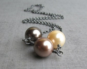 Glass Pearl Necklace, Ivory Necklace Glass Pearl, Brown Pearl Glass, Brown Necklace, Oxidized Sterling Silver Necklace, Glass Pearl Jewelry