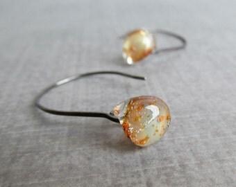 Earthy Earrings, Brown Earrings, Gold Glitter Earrings, Lampwork Earrings, Glass Drop Earrings, Oxidized Earrings