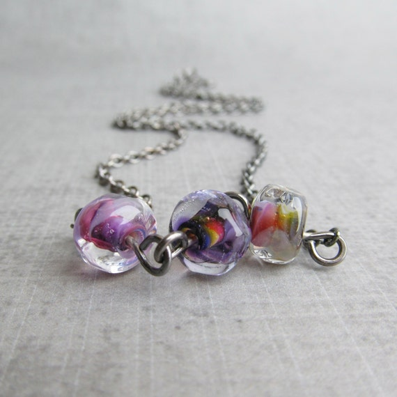 Purple Beaded Necklace, Lampwork Necklace Purple, Dark Silver Purple Necklace, Artisan Lampwork Jewelry, Oxidized Sterling Silver Necklace