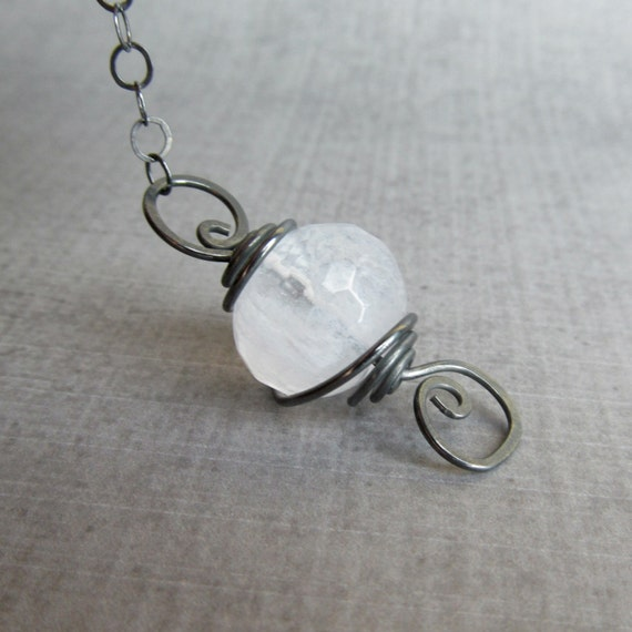 Milky White Necklace, Faceted Rock Crystal Necklace, White Pendant Necklace, Oxidized Sterling Silver Necklace White, Convertible Necklace