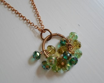 Mini Crystal Cluster Necklace Steampunk Wire Wrapped Mixed Green Crystals Extra Long Necklace 32 Inches Long