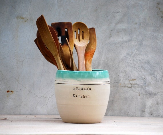 personalized  utensil holder  stoneware pottery