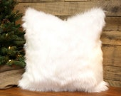 Faux Fur Pillow Cover Winter White Throw Pillow, Chenille  Accent Pillow, Decorative Pillow 10 Sizes  18 x 18 and 20 x20