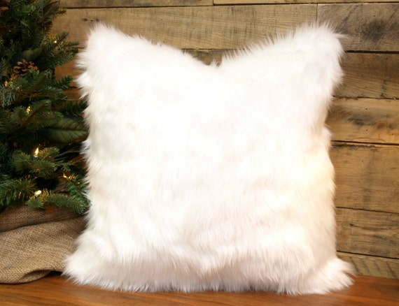 Fur Throw Pillow Covers : Faux Fur Pillow Cover Winter White Throw Pillow Chenille