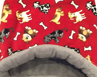 """Dog or Cat Bed, Snuggle sack, medium 21""""X25"""" Red Fleece, Dogs & Bones and grey Minky Faux Fur."""