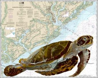 Charleston Harbor Loggerhead Sea Turtle Map Local Art Giclee Print arine Fishing Beach Unique Father's Day Gift