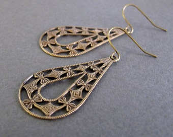 Brass Teardrop Earrings, Antique Gold Filigree Earrings, Vintage Inspired Earrings - LACE TEARS