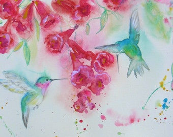Hummingbird painting, hummingbird art print, original watercolor, Trumpetvine painting, abstract flower print, 5 x 7 print, wall decor