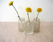 Vintage Pressed Glass - Salt Shakers Set of 3 - Pressed Glass Vases - Shabby Cottage
