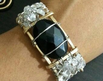 Onyx crown jewel bangle