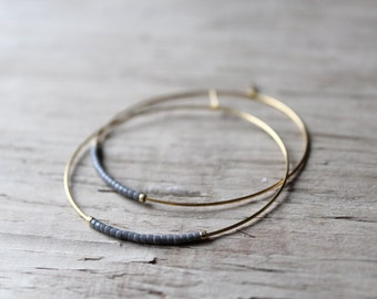 Gray Seed Bead Hoop Earrings, Large Gold Plated Earrings, Hoop Earrings, Gold Hoops, Also Available in Silver