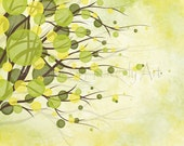 11 x 14 Yellow Wall Decor for Home or Office, Wind Blowing Tree Wall Art Print, Lime Green  (214)