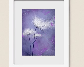 5 x 7 Fantasy Wall Art Dandelion Print, Pink Girls Decor Butterfly Art Print, Pink Purple Blue Wall Decor for House  (205)