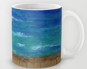 Beach // Coffee Tea Hot Cocoa Mug with Ocean Art