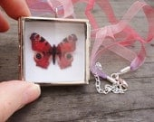 Peacock butterfly necklace - Silver shadowbox pendant - Miniature Butterfly Collection Display Case - purple and red