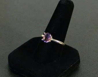 Sterling silver and faceted amethyst gemstone ring