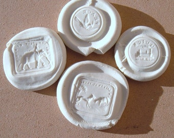 Elephant, Wolf, Sheep, Train, Dove Resin Wax Seal Reproduction Impression Set 4