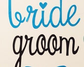 BRIDE and GROOM cursive Iron-on Letters Pick Your Color