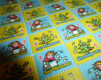 300 Vintage Christmas Seals. Three Full Sheets. 1965, 1970, 1973.  Beautiful for Crafting or Using.