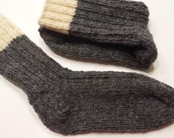 20% OFF Hand Knit Wool socks men or women Size 6/ 7