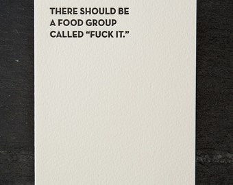 food group. letterpress card. #120
