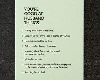 husband: you're good at things. letterpress card. #378