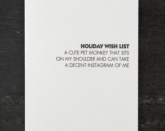 holiday wish: cute pet monkey. letterpress card. red envelope. graeber. #704