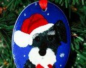 Christmas Santa Schnauzer Ornament ceramic