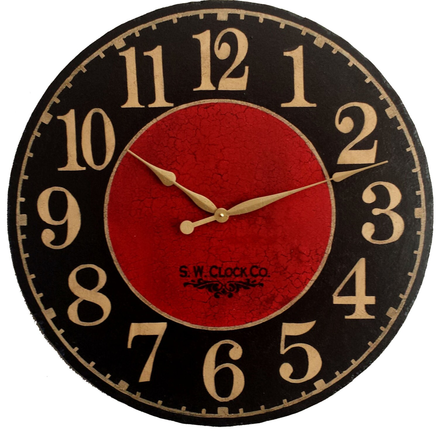 Large Wall Clock 24 Inch Marseille Round Dark Black Red