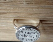 Silver Book Lover's Ring, Gift for Teacher, Adjustable Silver Ring