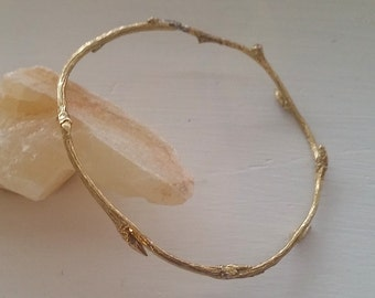 twig bangle ~ brass branch bangle ~ stackable bangle brass nature inspired