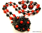 Miriam Haskell Necklace and Earrings Black and Red Glass Beads 1960s