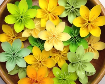 Yellow and Green Theme - 100 pcs with Free Shipping Origami Flowers