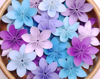 Purple and Blue Theme - Origami Flowers - 100pcs + Free Shipping