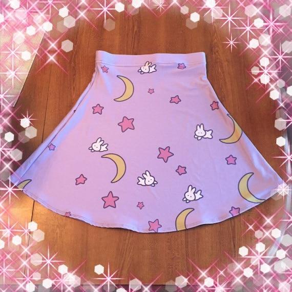 Sailor Moon skirt, Fairy Kei skirt, pastel goth skirt, flare skirt, sailormoon skirt, pastel skirt - Made to Order