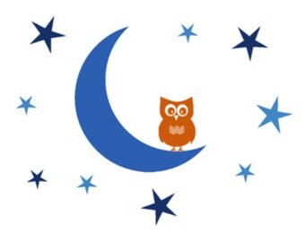 Nursery wall decal, Owl decal, Moon decal, Star wall stickers, Baby shower gift, Childs room decor, Nursery wall sticker, Big 40 X 50 inches