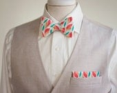 The Beau- men's coral/mint/peach multi freestyle bow tie