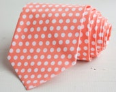 men's peach dot necktie